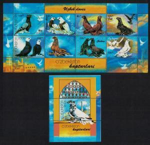 Uzbekistan Pigeons Birds Sheetlet of 6v+MS SG#MS483-MS484