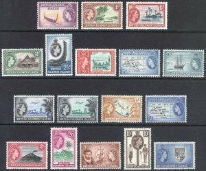 Br Solomon Is 1956 1/2d £1 QEII Pictorial SG 82-96 Sc 89-105 MVLH Cat £95($120)