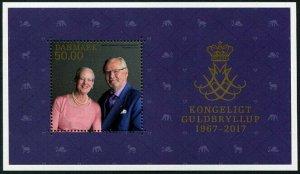 HERRICKSTAMP NEW ISSUES DENMARK Sc.# 1777 Royal Golden Wedding Anniv. S/S