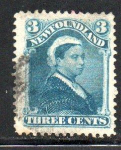 Newfoundland Sc 49 1896 3 c blue Victoria stamp used