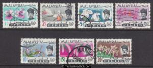 1965 Malaya Perlis Flower set of 7, SG 41-7, used