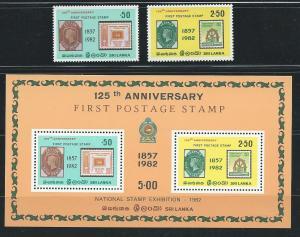 Sri Lanka 651-2a 1982 Stamp Exhibition set and s.s. MNH