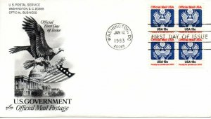 US FDC #O129 Official Mail Block, ArtCraft (9043)