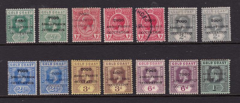 Togo a small range of Gold Coast KGV overprints