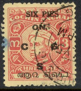 INDIA IFS TRAVANCORE COCHIN 1950 6p on 3p Varma II OFFICIAL Sc No O8 VFU
