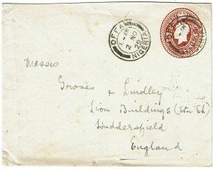 Nigeria 1929 Offa cancel on stationery envelope to England