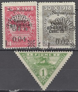 COLLECTION LOT OF #1132  FIUME 3 STAMPS 1919+