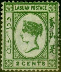 Labuan 1880 2c Yellow-Green SG5 Fine Used