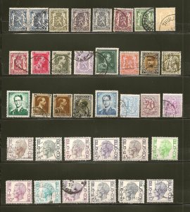 Belgium Collection of 35 Different Stamps Used