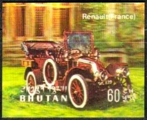 Antique Automobile, Renault, Bhutan stamp SC#128F mint, plastic overlay