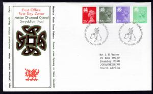 Great Britain Wales WMH19,27,37,47 Typed FDC
