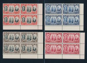 SARAWAK 155-158 MINT NH CORNER BLOCKS OF 4