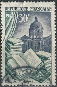France 712 (used, small flaw) 30fr applied arts: book printing (1954)