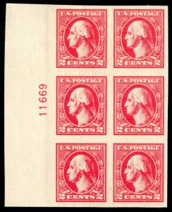 MOMEN: US STAMPS #534A PLATE BLOCK OF 6 MINT OG NH XF
