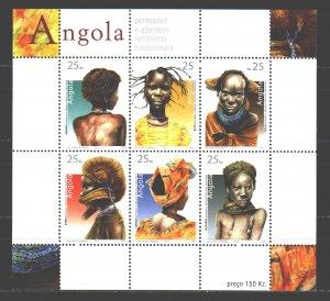 Angola. 2003. Small sheet 1702-7. Traditional hairstyles. MNH.
