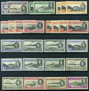 ASCENSION SG38 to SG47 1938-53 set x16 ++ KGVI Mounted Mint