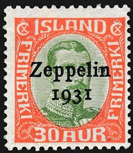 Zeppelin Iceland Stamps.  30a, 1K & 2K., MH