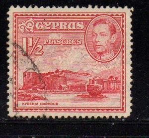 Cyprus Sc 147 1938 1 1/2 p G VI & Kyrenia Castle stamp used