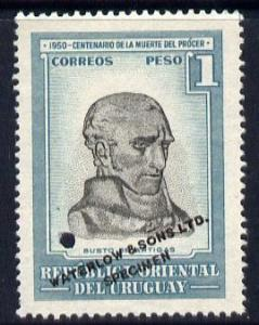 Uruguay 1952 Death Centenary of General Artigas 1p Bust o...