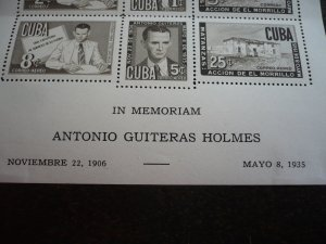 Stamps - Cuba- Scott# C49a - Mint Hinged Souvenir Sheet of 6 Stamps - Perforated