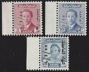 Iraq # 158-60, MNH set, #143,48&37 ovpt. Abrogation of Anglo Iraq treaty of 1930