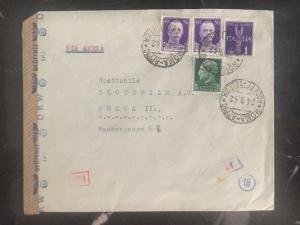 1942 Roma Italy Commercial Dual Censored Cover to Prague Czech Republic