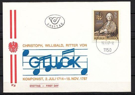 // Austria, Scott cat. 1451. Composer C. W. Gluck, First day cover.