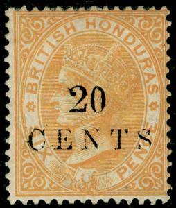 BRITISH HONDURAS SG29, 20c on 6d yellow, M MINT. Cat £27.