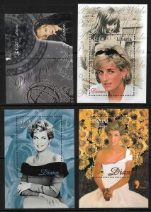 Diana 4 different MNH S/S from Liberia