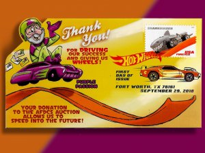 AFDCS Thanks Its Auction Donors w/Hot Wheels Pop-Up Mayhem! Sharkruiser DCP FDC!