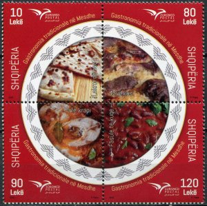 Albania 2020. Traditional Gastronomy (MNH OG) Block of 4 stamps