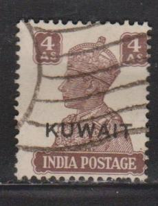 KUWAIT Scott # 67 Used - India Stamp With Overprint