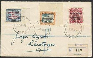 NIUE 1935 Jubilee set on reg FDC - 2½d with narrow first E in George........3791