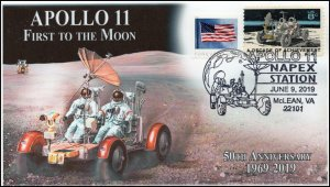 19-124, 2019, Apollo 11 Moon Landing, Pictorial Postmark, NAPEX, Moon Buggy, Eve