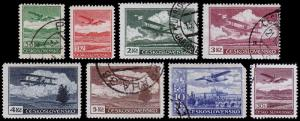 Czechoslovakia Scott C10-C16, C18 (1939) Used/Mint H F-VF, CV $13.10 B