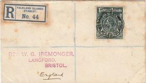Falkland Islands 1921 KGV 3/- Green on Registered Iremonger Cover Fox Bay Cancel