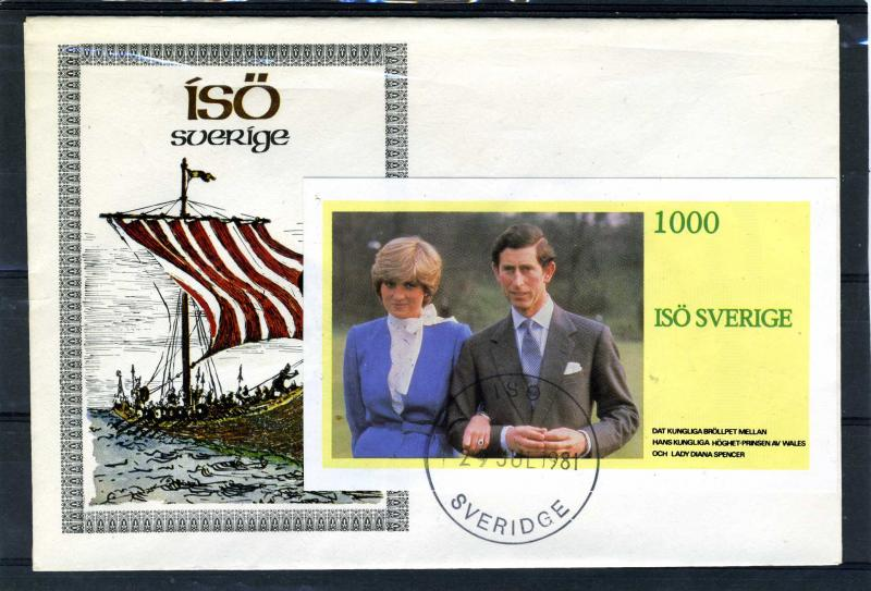 Iso (Sweden) 29.07.1981 Prince Charles & Lady Diana Spencer s/s Imperf. in FDC