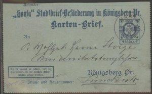 Germany 1899 Koenigsberg HANSA Local Private Stadtpost Kartenbrief Cover G102405