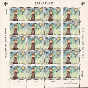Faroe Islands - 1979 Intl Year of the Child - Set of 3 20 Stamp Sheets #45-7