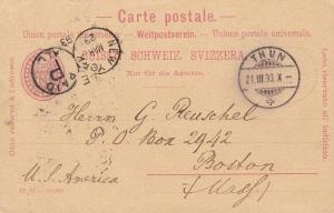 Switzerland 1893 10c Numeral in Oval Postal Card. Thun to Boston. Stamp Dealer
