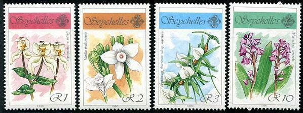 HERRICKSTAMP SEYCHELLES Sc.# 696-99 Orchids Flowers Stamps