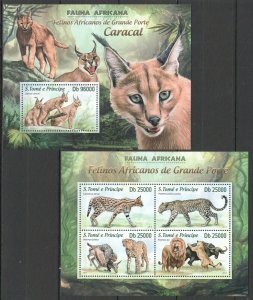 ST1731 2013 S. TOME & PRINCIPE ANIMALS FAUNA WILD CATS CARACAL KB+BL MNH STAMPS
