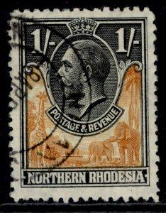 NORTHERN RHODESIA GV SG10, 1s yellow-brown & black, FINE USED.