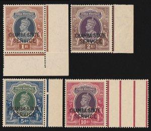 CHAMBA 1938 KGVI SERVICE 1R - 10R MNH ** 1R WITH CERIFICATE