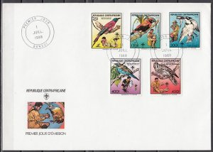 Central Africa, Scott cat. 888-892. Scouts & Birds issue. First day cover. ^
