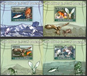 {018} Sao Tome & Principe 2007 Birds Owls Rabbits Fishes 4 S/S Deluxe MNH**