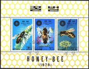 North Korea. 1979. Small sheet 1929-31. Bees, fauna. USED.