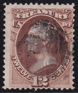 US STAMP BOB #O78 – 1873 12c Brown, Treasury used stamp
