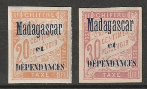 Madagascar 1896 Sc J3-4 postage due MH*