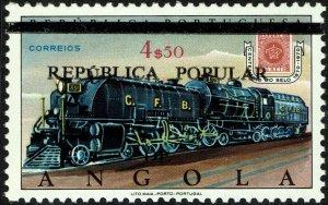 Angola #616B  MNH - Train Locomotive Ovpt (1980)